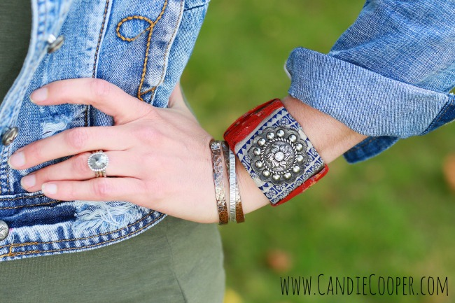 Candie Cooper Leather Cuff and Metal Cuffs