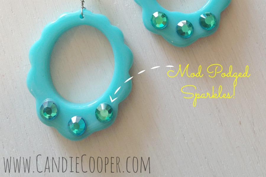 Candie Cooper Mod Podged Sparkle Earrings in Blue 2